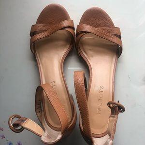 Talbots Tan Block-Heel Sandals